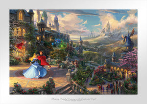 Aurora and her prince in the courtyard under an enchanted light streaming down from the good fairies.  - Unframed Paper