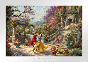 This romantic scene takes place in the courtyard of the kingdom's castle, where Snow White and all of her friends are celebrating the defeat of the wicked Queen and reuniting of true love.