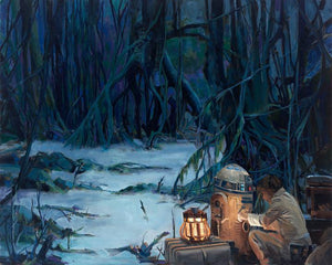 Luke Skywalker and R2_D2 are in the muddy swamps of Dagobah.
