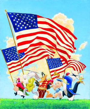 "The ""Looney Lineup"" features Bugs Bunny, Daffy Duck, Porky Pig, Yosemite Sam, Sylvester and Tweety holding up the america's flags."