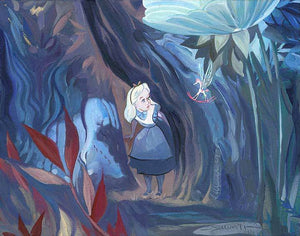 Alice encounters an unusual creature, a flying rocking horse with wings, as she wonders through woods in Wonderland.