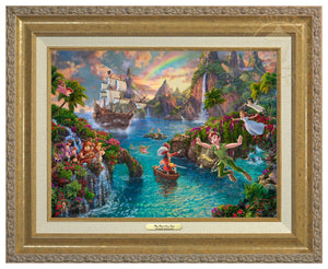 Peter battling his nemesis Captain Hook, with the help of Wendy, Michael, John, The Lost Boys, and his beloved pal Tinker Bell - Antique Gold Frame