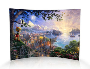 Disney - Pinocchio Wishes Upon A Star by StarFire Prints™ Curved Glass