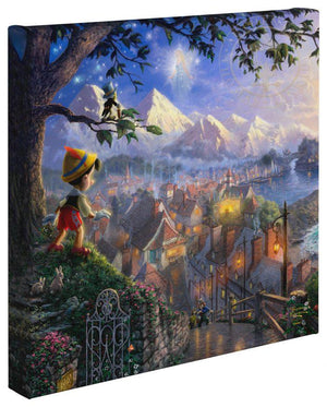 Pinocchio stands upon a hillside overlooking the setting of his adventures. A view of  Honest John and Geppetto's workshop where Pinocchio was created. On the right is Pleasure Island and Monstro the whale preparing to engulf Geppetto's sailing vessel. Butterflies and sparkles lend magical accents as the Blue Fairy, and Jiminy Cricket