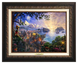 Pinocchio Wishes Upon A Star by Thomas Kinkade.  Pinocchio upon a hillside overlooking the setting of his adventures. Geppetto's workshop where Pinocchio was created - Aged Bronze Frame