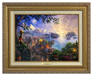 Pinocchio Wishes Upon A Star by Thomas Kinkade.  Pinocchio upon a hillside overlooking the setting of his adventures. Geppetto's workshop where Pinocchio was created - Antique Gold Frame