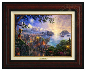 Pinocchio Wishes Upon A Star by Thomas Kinkade.  Pinocchio upon a hillside overlooking the setting of his adventures. Geppetto's workshop where Pinocchio was created - Burl Frame