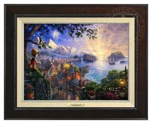 Pinocchio Wishes Upon A Star by Thomas Kinkade.  Pinocchio upon a hillside overlooking the setting of his adventures. Geppetto's workshop where Pinocchio was created - Espresso Frame