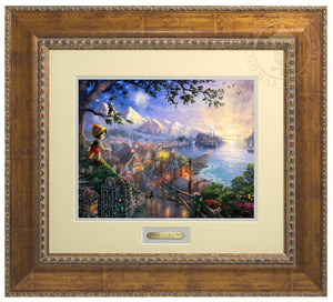 Pinocchio upon a hillside overlooking the setting of his adventures. Geppetto's workshop where Pinocchio was created - Antiques Gold Frame