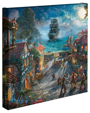Captain Jack Sparrow makes his grand entrance as his ship slowly sinks in the harbor of a portside town. A mischievous mutt can be seen taunting pirate prisoners. Will and Elizabeth are fighting pirates back-to-back.