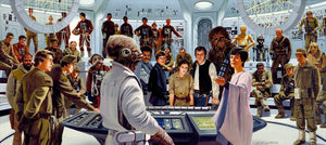 Plan of Attack features Admiral Ackbar and Mon Mothma with Nien Nunb, Lando Calrissian, Luke Skywalker, Princess Leia, Han Solo, Chewbacca, and C-3PO