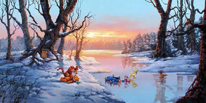 Winnie the Pooh, playing around with Tigger on a snowy winter day,  while Eeyore, Piglet, Rabbit, Roo skate in pond.