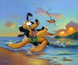 Pluto's Grand Entrance by Jim Warren.  Pluto's dashes out of an ocean scene canvas painting.