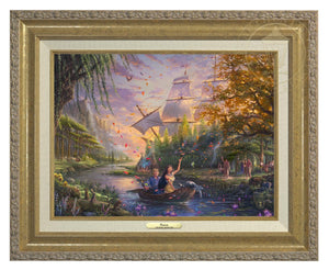 Pocahontas's friends, the raccoon Meeko and hummingbird Flit, keep a careful watch over her as she and John Smith travels downstream - Antique Gold Frame