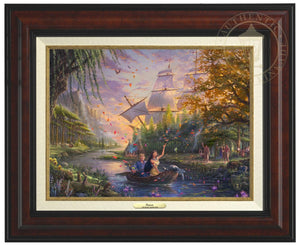 Pocahontas's friends, the raccoon Meeko and hummingbird Flit, keep a careful watch over her as she and John Smith travels downstream - Burl Frame