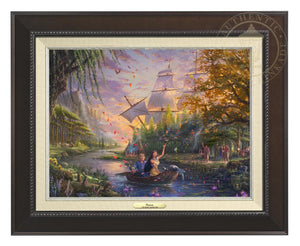 Pocahontas's friends, the raccoon Meeko and hummingbird Flit, keep a careful watch over her as she and John Smith travels downstream - Espresso  Frame