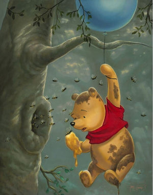 Pooh finds himself in a sticky situation as the bees start to fly out of hive as he hangs on to his blue balloon.e tree limb.