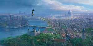 Practically Perfect by Peter Ellenshaw  Mary Poppins magically wondering above the skies of London's cityscape, holding her umbrella and handbag in hand