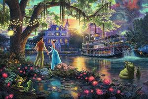 Tiana meets Prince Naveen,  who has been turned into an amphibian by evil Dr. Facilier share the stage with the bayou river swamp - unframed