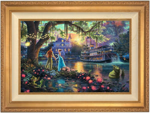 Tiana meets Prince Naveen,  who has been turned into an amphibian by evil Dr. Facilier share the stage with the bayou river swamp creatures - Antique Gold Frame