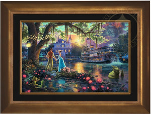 Tiana meets Prince Naveen,  who has been turned into an amphibian by evil Dr. Facilier share the stage with the bayou river swamp creatures - Aurora Gold Frame