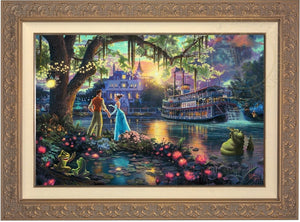 Tiana meets Prince Naveen,  who has been turned into an amphibian by evil Dr. Facilier share the stage with the bayou river swamp creatures. - Carrisa Frame