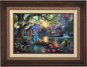 Tiana meets Prince Naveen,  who has been turned into an amphibian by evil Dr. Facilier share the stage with the bayou river swamp creatures - Dark Walnut Frame