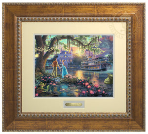 Tiana and the Prince stand by the bayou river edge holding hands under the oak tree, as the two frogs (Tiana and the Prince) watch - Antiqued Gold Frame