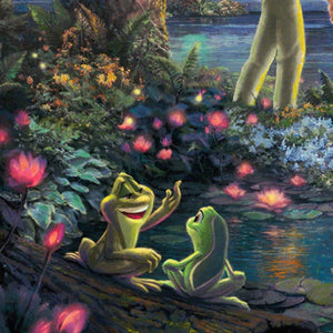 Tiana and Prince Naveen, at the water edge turned into amphibian - closeup.