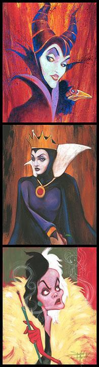 This photo booth film strip style painting features the 3 Mad Queens; Maleficent - Sleeping Beauty, Evil Queen - Snow White and Cruella de Vil - 101 Dalmations.