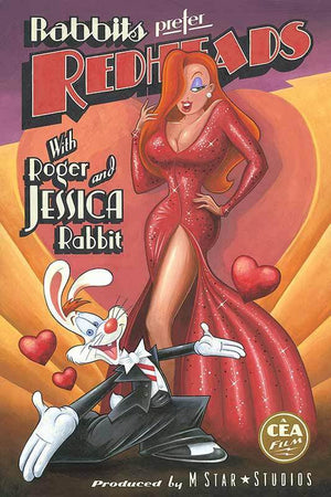 A poster production of Jessica in a sexy red sequence dress and Roger in a black tux.