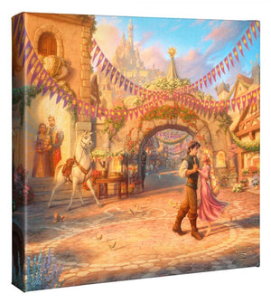 Flynn is looking deeply into the eyes of Rapunzel as he twirls her around the courtyard. Maximus and Pascal seem anxious to join in the dance with the pair.