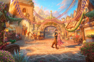 Flynn is looking deeply into the eyes of Rapunzel as he twirls her around the courtyard.  - Unframed