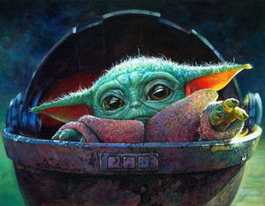 Child Yoda in a basket. Tthe Mandalorian interpretive artwork featuring the Child - Yoda.