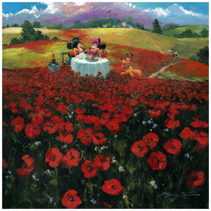 Red Poppies by James Coleman  Mickey and Minnie are dining in the middle of a red poppies field, overlooking the sight of the hills.