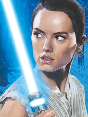 Rey holding her light-saber