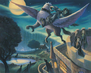 Sirius Black riding off on Buckbeak the hippogriff away to a hidden place.