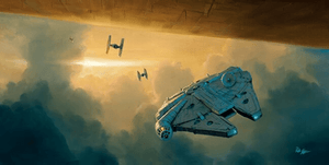 The  Millennium falcon fly's under the Cloud City where Luke is clinging on to a weather vane.