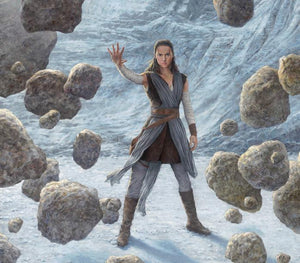 rey uses the force to lift the boulders - closeup