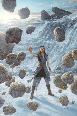 rey uses the force to lift the boulders - unframed