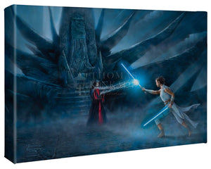 Rey channels the Force and Jedi before her and draws her Lightsaber to confronts the Emperor. - Gallery Wrap