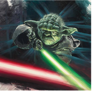 Yoda holding his lightsaber in a fight between Good Vs. Evil.