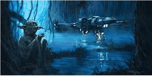 Yoda uses his powers to elevate Luke's starfigther from the the swamp on Dagobah.
