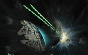 The Millennium Falcon escapes through a field of asteroids. Inspired by Star Wars: The Empire Strikes Back.
