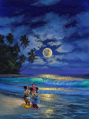 Romance Under the Moonlight by Walfrido Garcia.  Mickey and Minnie taking a romance midnight stroll under the moonlight.