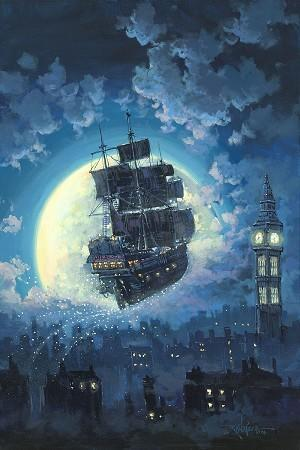 Sailing into the Moon by Rodel Gonzalez.  The magical Jolly Roger pirate ship sails over the London's moonlight.