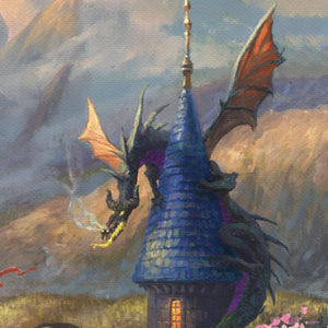 Lurking near the edge of the castle is Maleficent – in the ever-dangerous dragon form - closeup