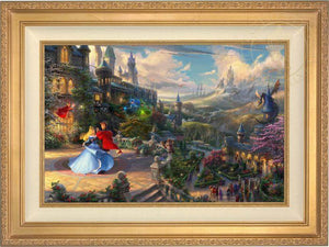Prince Phillip has awakened Princess Aurora with true love's kiss, dancing in courtyard under an enchanted light streaming down from the good fairies - Antique Gold Frame
