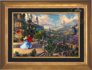 Prince Phillip has awakened Princess Aurora with true love's kiss, dancing in courtyard under an enchanted light streaming down from the good fairies - Aurora Gold Frame