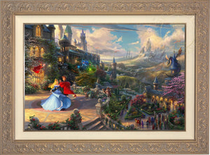 Prince Phillip has awakened Princess Aurora with true love's kiss, dancing in courtyard under an enchanted light streaming down from the good fairies - Carrisa Frame